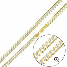 Wholesale Sterling Silver 925 Gold Plated 2 Toned DC Cuban Chain 7.1mm - CH938 GP