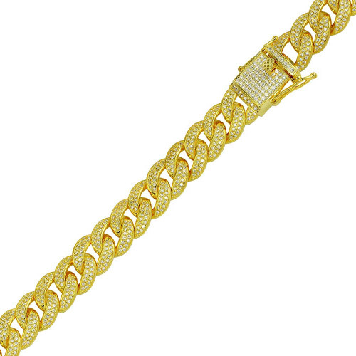 Wholesale Sterling Silver 925 Gold Plated CZ Encrusted Curb Bracelet 11.7mm - CHCZ104B GP
