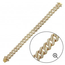 Wholesale Sterling Silver 925 Gold Plated CZ Encrusted Square Miami Cuban Link Bracelet 14.5mm - GMB00075GP