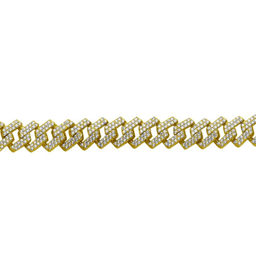 Wholesale Sterling Silver 925 Gold Plated CZ Encrusted Square Miami Cuban Link Bracelet 11.0mm - GMB00076GP