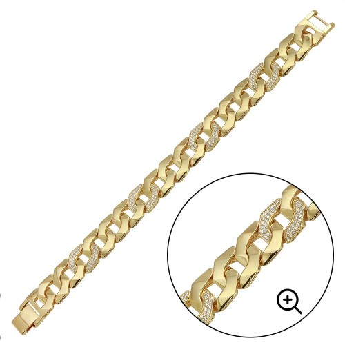 Wholesale Sterling Silver 925 Gold Plated CZ Square Curb Bracelet 14.2mm - GMB00080GP