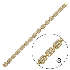 Wholesale Sterling Silver 925 Gold Plated CZ Square Link Bracelet 8.8mm - GMB00081GP
