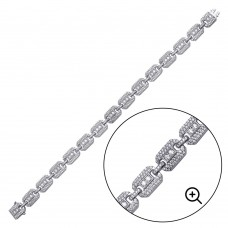 Wholesale Sterling Silver 925 Rhodium Plated CZ Square Link Bracelet 8.8mm - GMB00081