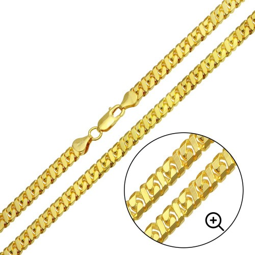 Wholesale Sterling Silver 925 Gold Plated Dollar Miami Cuban Chain 5.4mm - VGC24 GP