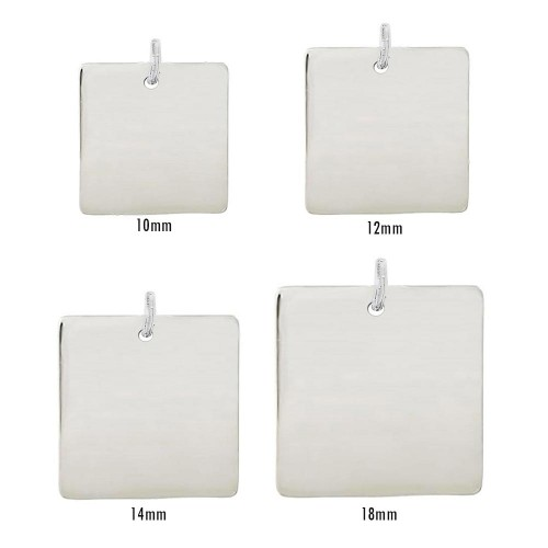 Wholesale Sterling Silver 925 High Polished Engravable Square Tag Charm - BAR03