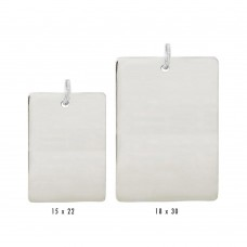 Wholesale Sterling Silver 925 High Polished Engravable Rectangle Tag Charm - BAR04