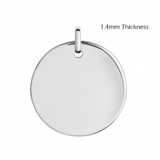 Wholesale Sterling Silver 925 High Polished Heavy Disc Engravable with Bail - DISC01
