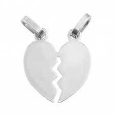 Wholesale Sterling Silver 925 Rhodium Plated Broken Heart Pendant 20mm - HRT04