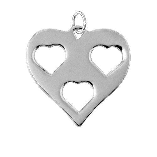 Wholesale Sterling Silver 925 Rhodium Plated Heart Charm with 3 Cut Out Inner Hearts - HRT05