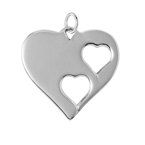Wholesale Sterling Silver 925 Rhodium Plated Heart Charm with 2 Cut Out Inner Hearts - HRT06
