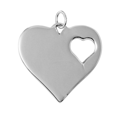 Wholesale Sterling Silver 925 Rhodium Plated Heart Charm With 1 Cut Out Inner Hearts - HRT07