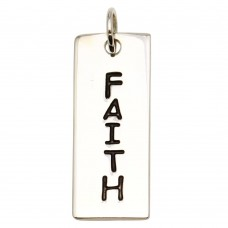Sterling Silver High Polished Engravable Bar Faith Charm - BAR05-FAITH