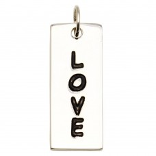 Sterling Silver High Polished Engravable Bar Love Charm - BAR07-LOVE