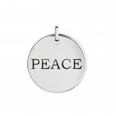 Wholesale Sterling Silver 925 'Peace' Engraved Disc Pendant - CHARM005