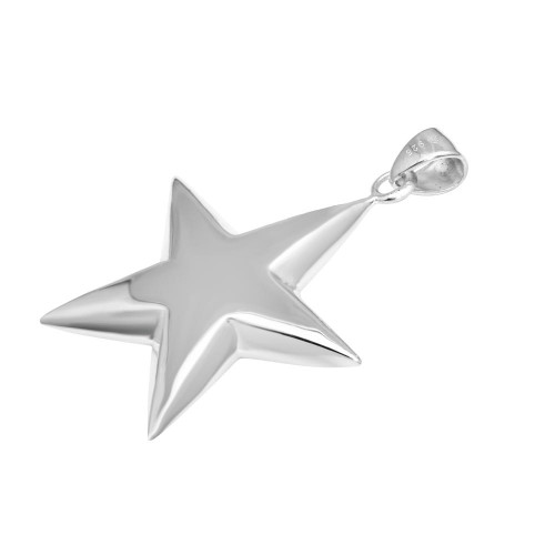 Wholesale Sterling Silver 925 High Polished Puffy Engravable Star Pendant - STAR02