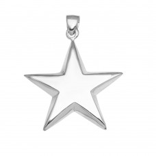 Sterling Silver High Polished Puffy Engravable Star Pendant - STAR02