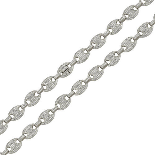 Wholesale Sterling Silver 925 Rhodium Plated CZ Encrusted Oval Link Chains 10.5mm - CHCZ114 RH