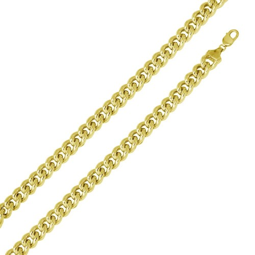 Wholesale Sterling Silver 925 Gold Plated Hollow Curb Chain 12.8mm - CHHW116 GP