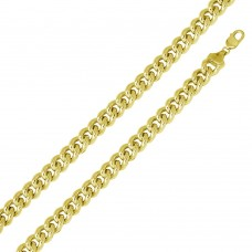 Wholesale Sterling Silver 925 Gold Plated Hollow Curb Chain 14.5mm - CHHW117 GP