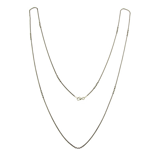 Wholesale Sterling Silver 925 Black Rhodium Plated DC Beaded Chain Necklace - CHN00002BLK