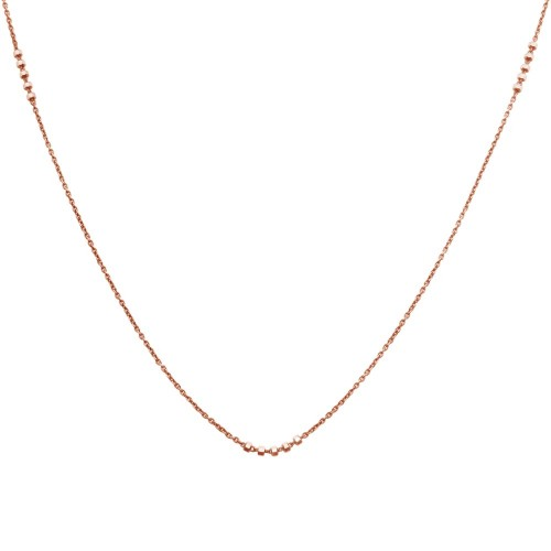 Wholesale Sterling Silver 925 Rose Gold Plated DC Beaded Chain Necklace - CHN00002RGP
