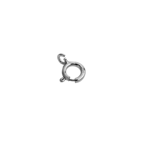 Wholesale Sterling Silver 925 Rhodium Plated Round Spring Clasp - CLASP01RH-5mm