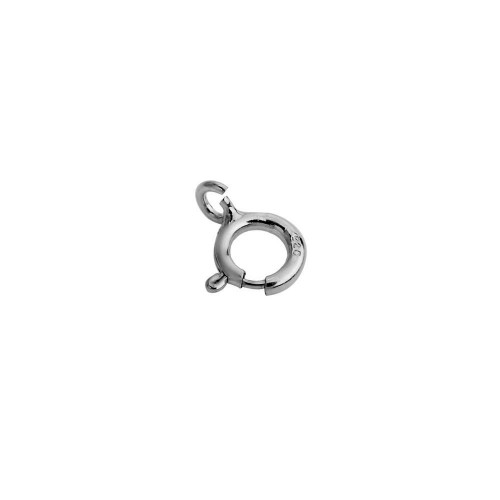 Wholesale Sterling Silver 925 Rhodium Plated Round Spring Clasp - CLASP01RH-6mm