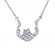 **Closeout** Wholesale Sterling Silver 925 Rhodium Plated CZ Flower Pendant Necklace - P000001