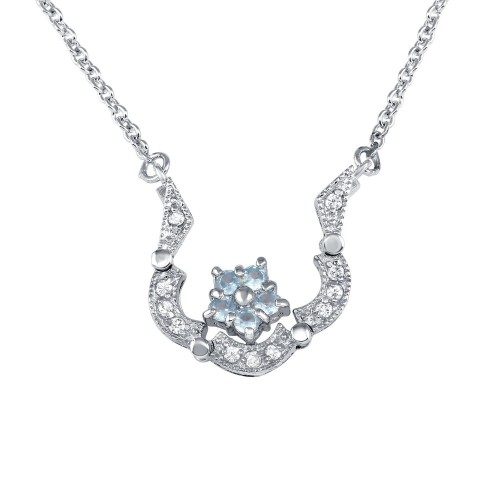 -Closeout- Wholesale Sterling Silver 925 Rhodium Plated CZ Flower Pendant Necklace - P000001