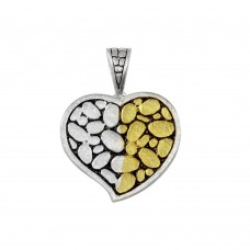 **Closeout** Wholesale Sterling Silver 925 Two-Toned Heart Pendant - P 640064