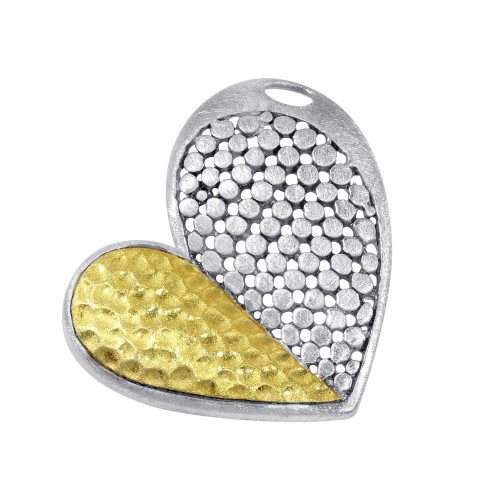 -Closeout- Wholesale Sterling Silver 925 Two-Toned Asymmetrical Heart Pendant - P 640078