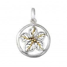 **Closeout** Wholesale Sterling Silver 925 Two-Toned Round Flower Pendant - P 640117