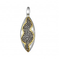 -Closeout- Wholesale Sterling Silver 925 Two-Toned Oval Pendant - P 640144