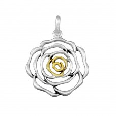 **Closeout** Wholesale Sterling Silver 925 Two-Toned Open Rose Pendant - P 640191
