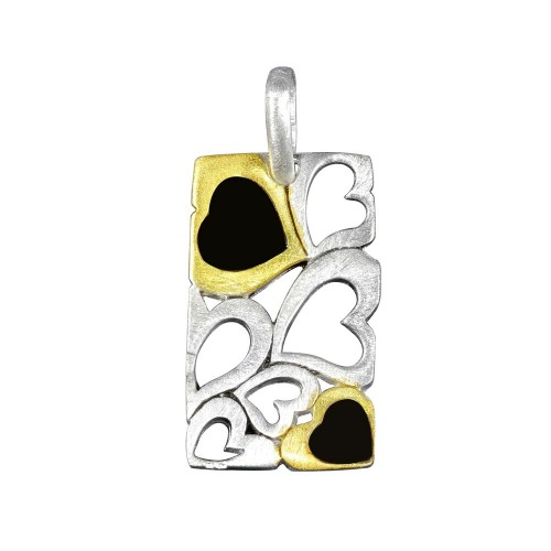 -Closeout- Wholesale Sterling Silver 925 Three-Toned Bar Pendant with Heart Designs - P 640277