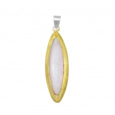 -Closeout- Wholesale Sterling Silver 925 Two-Toned Oval Pendant - P 640346PNK