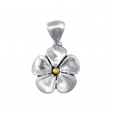 -Closeout- Wholesale Sterling Silver 925 Two-Toned Flower Pendant - P 65654