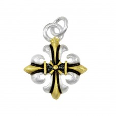 -Closeout- Wholesale Sterling Silver 925 Three-Toned Cross Pendant - P 66102