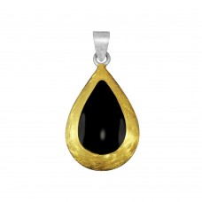 -Closeout- Wholesale Sterling Silver Two-Toned Teardrop Pendant - PE 640347