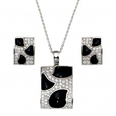 -CLOSEOUT- Wholesale Sterling Silver 925 Rhodium Plated Square Black Onyx Pave Set Clear CZ Stud Earring and Dangling Necklace Set - BGS00076