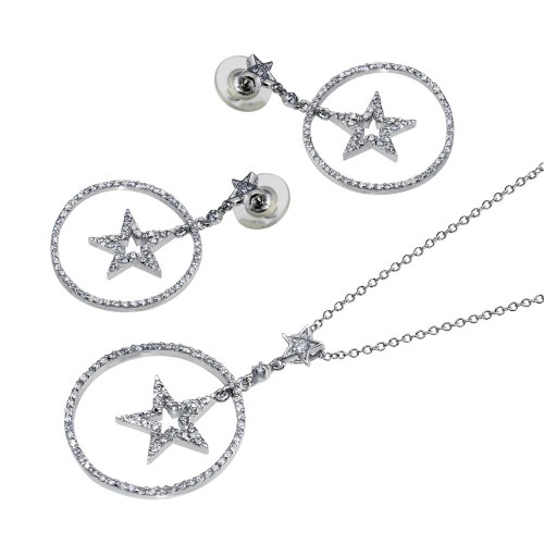 -Closeout- Wholesale Sterling Silver 925 Rhodium Plated Clear Open Circle Star CZ Dangling Stud Earring and Dangling Necklace Set - BGS00012