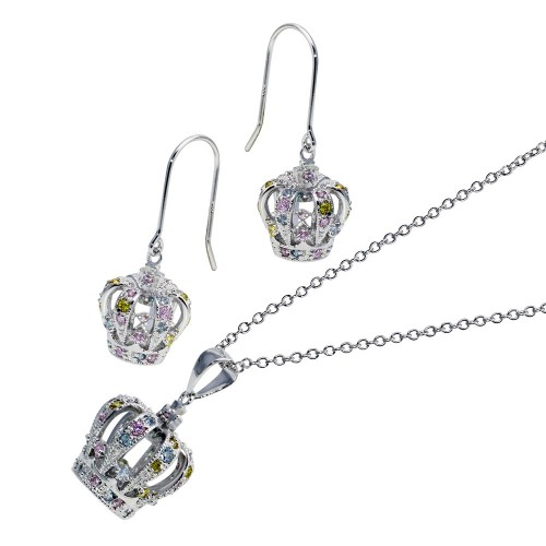 -Closeout- Wholesale Sterling Silver 925 Rhodium Plated Multi Colored Crown CZ Hook Earring and Dangling Necklace Set - BGS00014