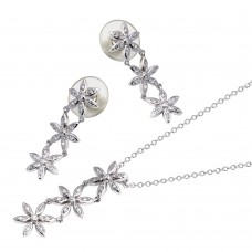 -CLOSEOUT- Wholesale Sterling Silver 925 Rhodium Plated Clear Flower CZ Dangling Stud Earring and Dangling Necklace Set - BGS00034