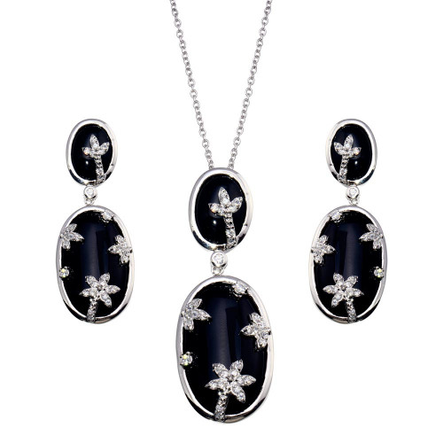 -CLOSEOUT- Wholesale Sterling Silver 925 Oval Onyx Clear CZ Flowers Dangling Stud Earring and Dangling Necklace Set - BGS00048