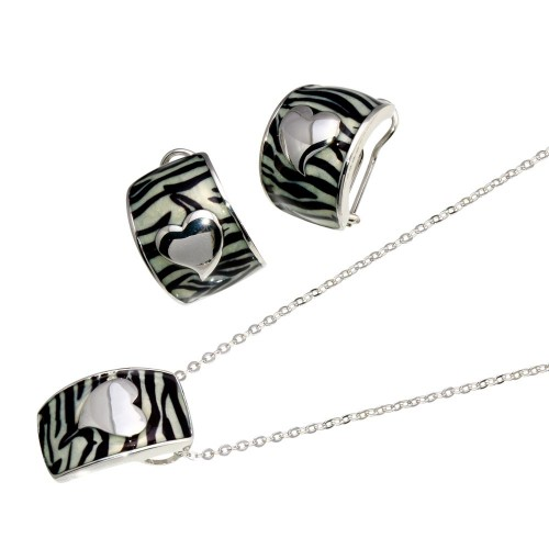 -Closeout- Wholesale Sterling Silver 925 Rhodium Plated Zebra Stripe Print Enamel Heart French Clip Earring and Necklace Set - BGS00061