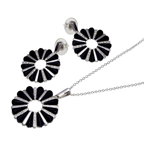 -Closeout- Wholesale Sterling Silver 925 Rhodium Plated Open Flower Cookie Set - BGS00071