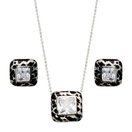 -Closeout- Wholesale Sterling Silver 925 Rhodium Plated Square Leopard Print Clear CZ Stud Earring and Necklace Set - BGS00073