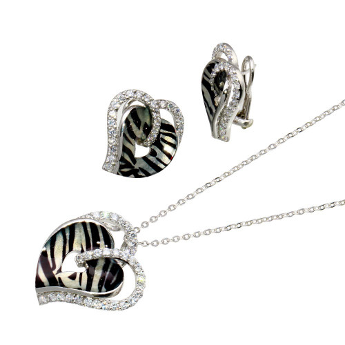-Closeout- Wholesale Sterling Silver 925 Rhodium Plated Zebra Stripe Print Heart Clear CZ Stud Earring and Necklace Set - BGS00082