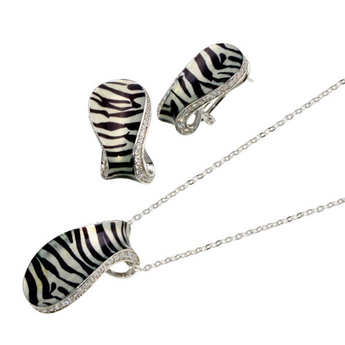 -Closeout- Wholesale Sterling Silver 925 Rhodium Plated Zebra Stripe Print Folded Clear CZ Stud Earring and Necklace Set - BGS00084
