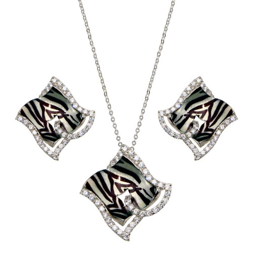 -Closeout- Wholesale Sterling Silver 925 Rhodium Plated Zebra Stripe Print Square Clear CZ French Clip Earring and Necklace Set - BGS00086